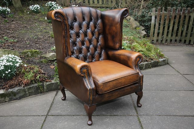 thomas lloyd brown leather chesterfield wing back armchair. Black Bedroom Furniture Sets. Home Design Ideas