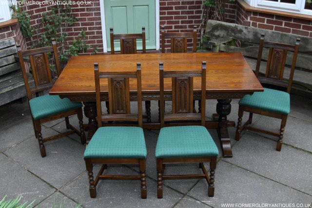 OLD CHARM LIGHT OAK KITCHEN DINING TABLE SIX CHAIRS For Sale In Uttoxet