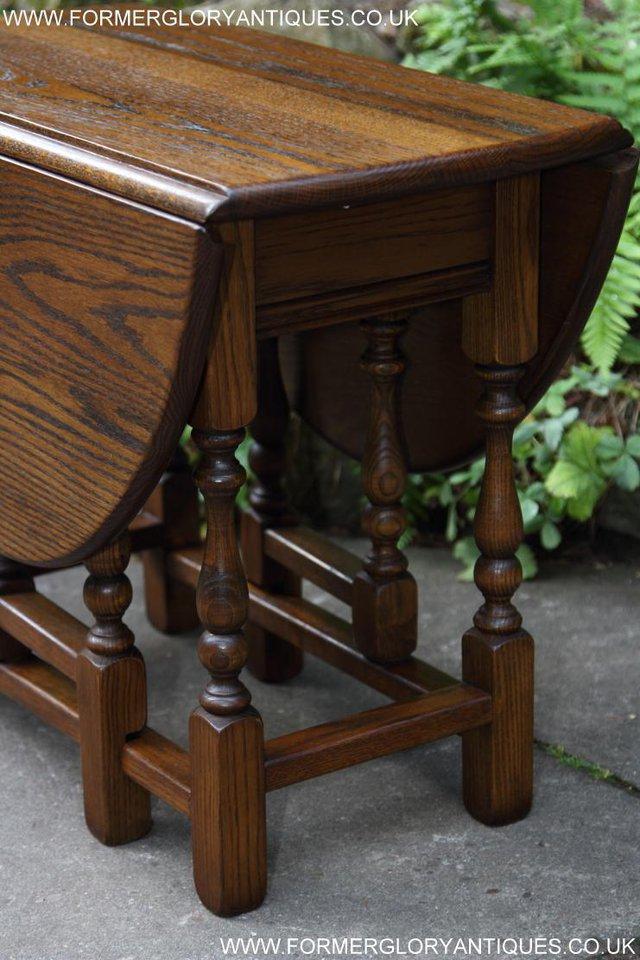 Old Charm Light Oak Drop Leaf Gate Leg Coffee Lamp Table