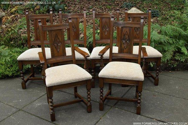 SIX OLD CHARM JAYCEE LIGHT OAK KITCHEN TABLE DINING CHAIRS ...