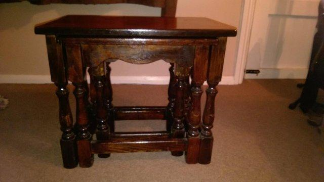 dark oak nest of tables - Second Hand Household Furniture Buy and
