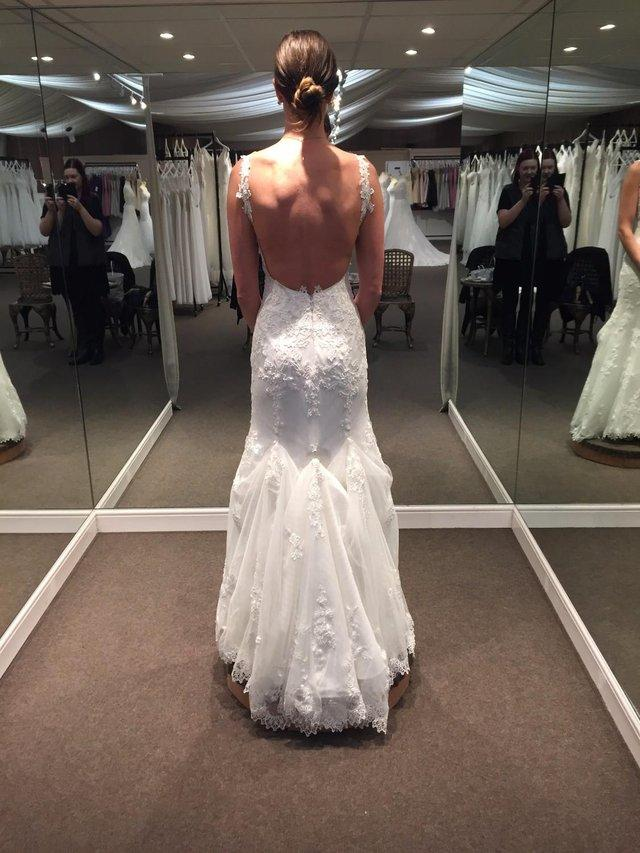 Low back v neck thin strap lace short train wedding dress for Low back wedding dresses for sale