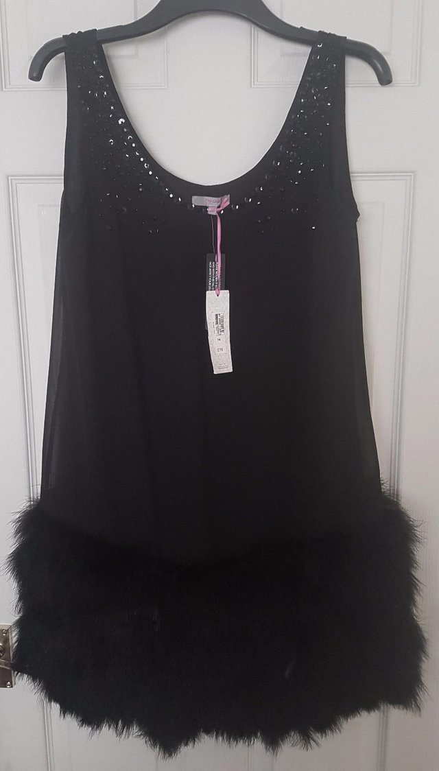 Per Una Black Dress Part - 50: This Beautiful Dress Is Made By Per Una And Has Sequins To The Neckline U0026  Shoulders, With Deep Feathered Layers To The Hem. It Is Fully Lined And The  Length ...