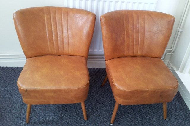 1960 brown leather cocktail chairs