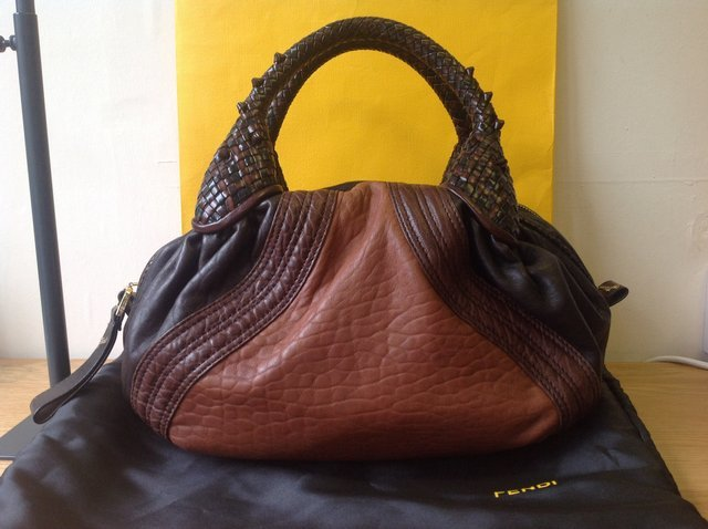 Fendi Tribal Baby Spy Bag. Tan/Brown & Black Leather
