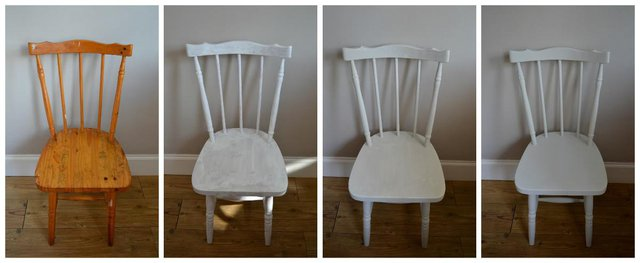 stages of upcycling a chair