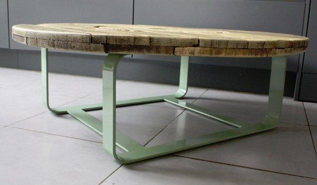 Green coffee table made by Salvation Furniture