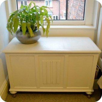 plain white chest with plant on top