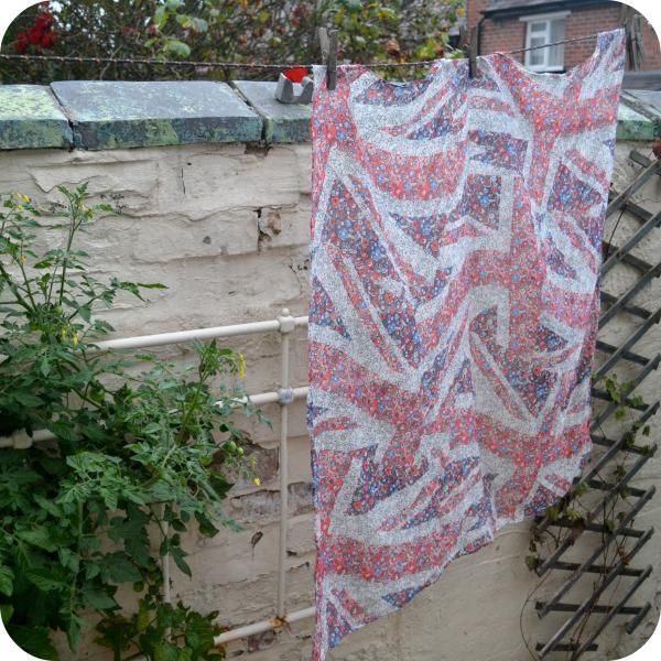 red and blue scarf hanging on a washing line