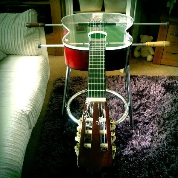 finished upcycled guitar