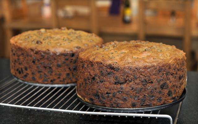 christmas cake cooled ready to be fed with brandy