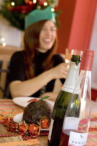 wine bottle on a christmas dining table