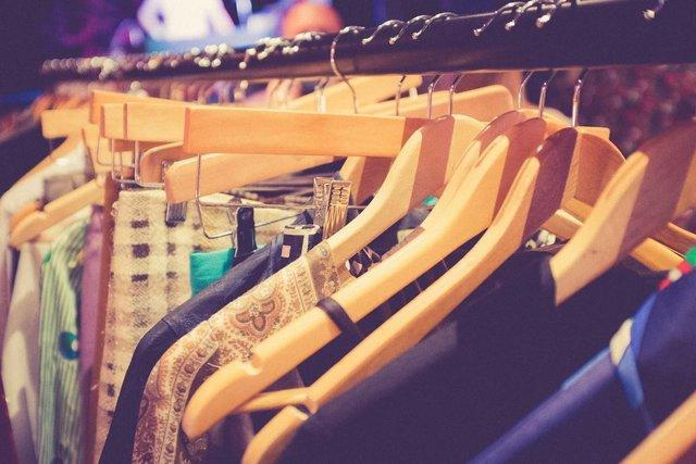 second hand clothing on rail