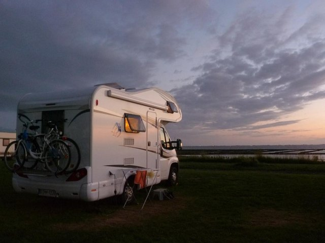 campervan parked by the seaside
