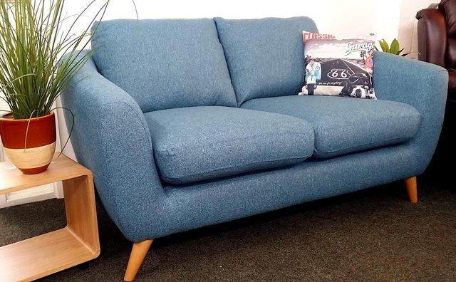 retro blue sofa