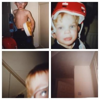 Jon taking pictures when he was 4 with a friend