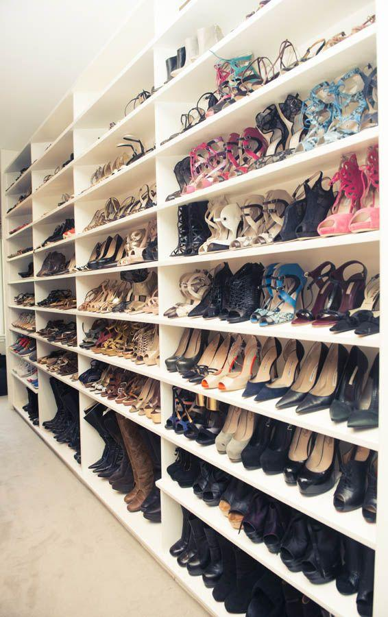 A rack with several pairs of shoes