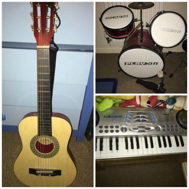 Drum kit, keyboard, guitar