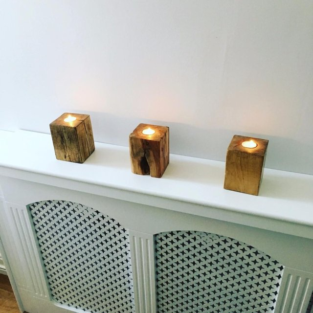 Tealight holders on radiator cover