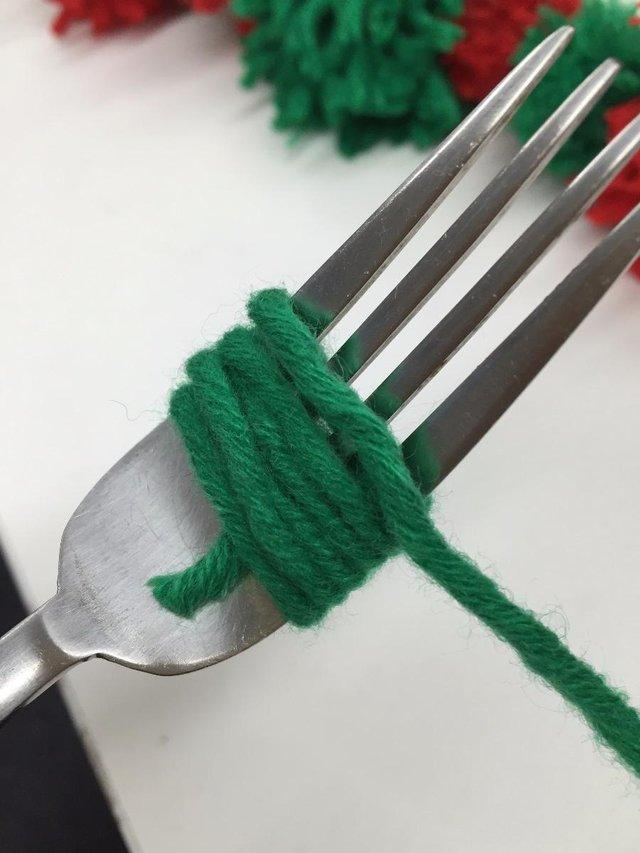 wool on fork