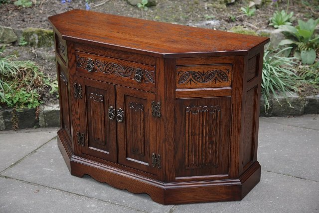 Old charm tudor brown dresser base canted cupboard for Tudor furnishings