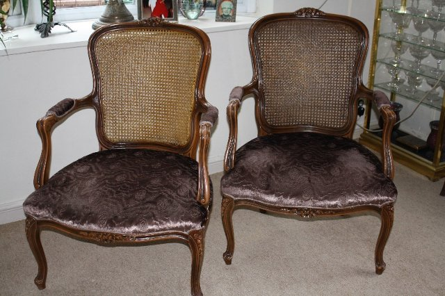Oversized Antique Bergere Chairs (A Pair)