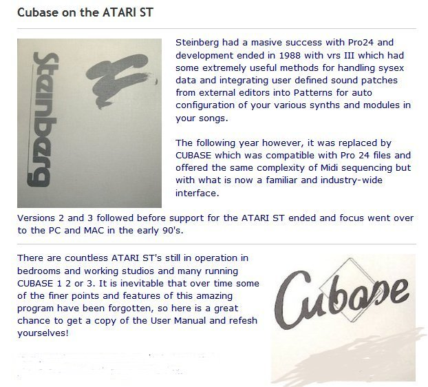 Preview of the first image of Cubase for ATARI ST manual.