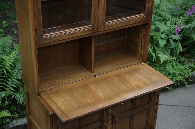 Image 4 of ERCOL GOLDEN DAWN DRINKS DISPLAY CABINET BOOKCASE CUPBOARD.