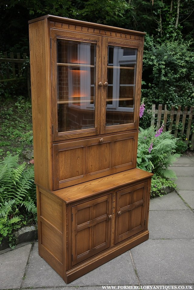 Image 5 of ERCOL GOLDEN DAWN DRINKS DISPLAY CABINET BOOKCASE CUPBOARD.
