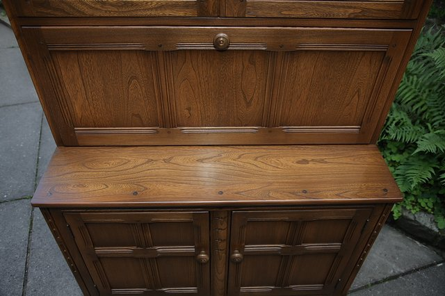 Image 8 of ERCOL GOLDEN DAWN DRINKS DISPLAY CABINET BOOKCASE CUPBOARD.