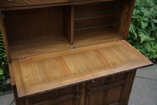 Image 15 of ERCOL GOLDEN DAWN DRINKS DISPLAY CABINET BOOKCASE CUPBOARD.
