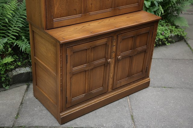 Image 16 of ERCOL GOLDEN DAWN DRINKS DISPLAY CABINET BOOKCASE CUPBOARD.