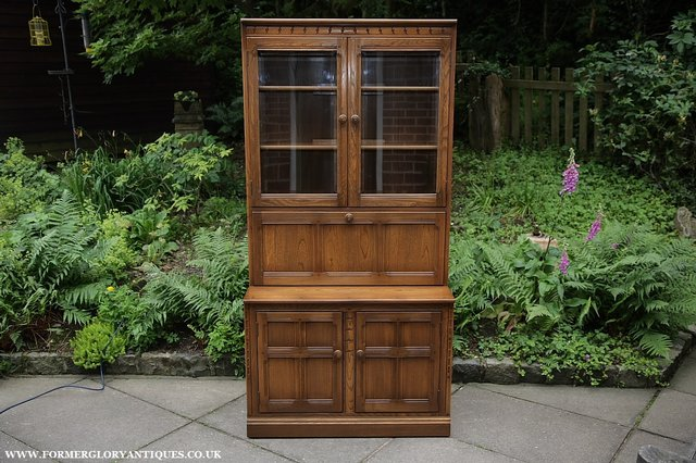 Image 18 of ERCOL GOLDEN DAWN DRINKS DISPLAY CABINET BOOKCASE CUPBOARD.