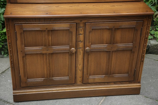 Image 21 of ERCOL GOLDEN DAWN DRINKS DISPLAY CABINET BOOKCASE CUPBOARD.