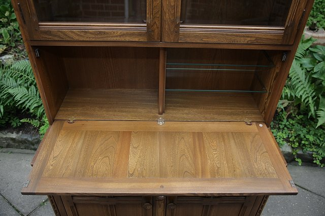 Image 23 of ERCOL GOLDEN DAWN DRINKS DISPLAY CABINET BOOKCASE CUPBOARD.