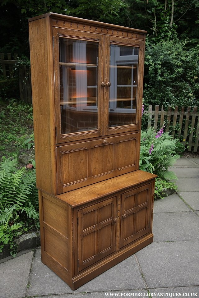 Image 24 of ERCOL GOLDEN DAWN DRINKS DISPLAY CABINET BOOKCASE CUPBOARD.
