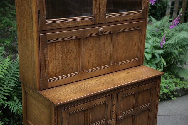 Image 25 of ERCOL GOLDEN DAWN DRINKS DISPLAY CABINET BOOKCASE CUPBOARD.