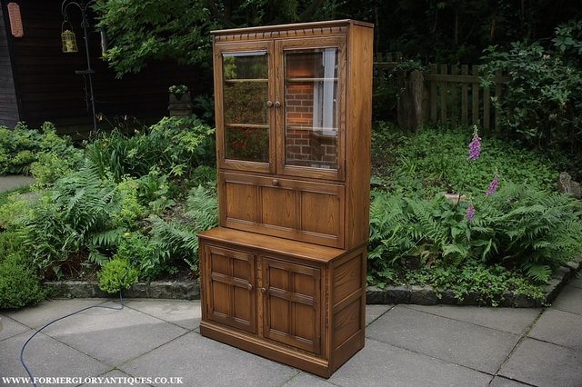 Image 27 of ERCOL GOLDEN DAWN DRINKS DISPLAY CABINET BOOKCASE CUPBOARD.