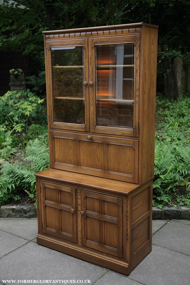 Image 33 of ERCOL GOLDEN DAWN DRINKS DISPLAY CABINET BOOKCASE CUPBOARD.
