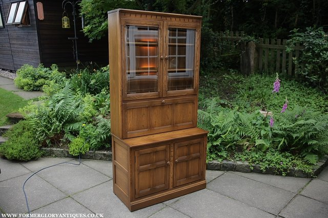 Image 34 of ERCOL GOLDEN DAWN DRINKS DISPLAY CABINET BOOKCASE CUPBOARD.
