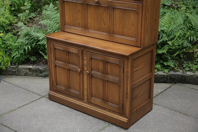 Image 36 of ERCOL GOLDEN DAWN DRINKS DISPLAY CABINET BOOKCASE CUPBOARD.