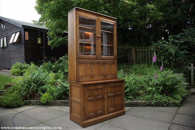 Image 37 of ERCOL GOLDEN DAWN DRINKS DISPLAY CABINET BOOKCASE CUPBOARD.