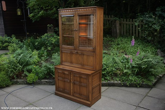 Image 38 of ERCOL GOLDEN DAWN DRINKS DISPLAY CABINET BOOKCASE CUPBOARD.