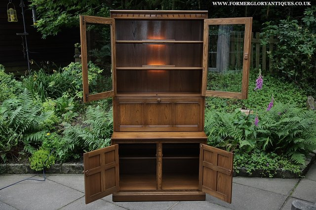 Image 39 of ERCOL GOLDEN DAWN DRINKS DISPLAY CABINET BOOKCASE CUPBOARD.