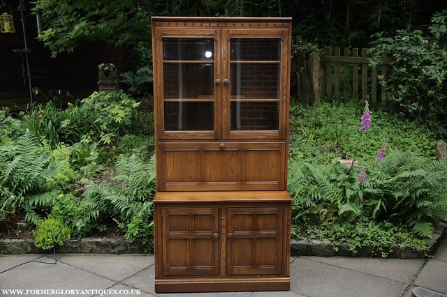Image 40 of ERCOL GOLDEN DAWN DRINKS DISPLAY CABINET BOOKCASE CUPBOARD.