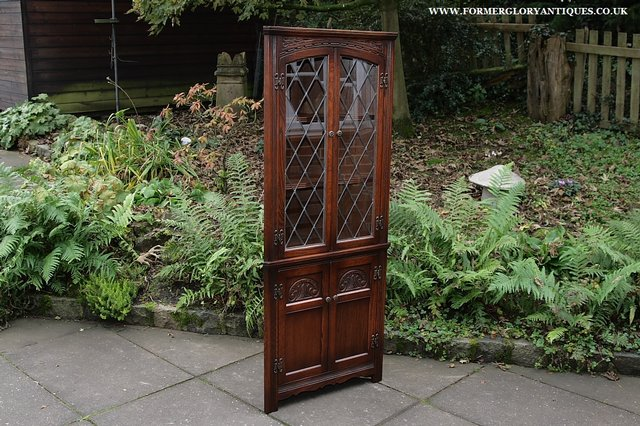 Preview of the first image of OLD CHARM CORNER DISPLAY CABINET CUPBOARD BOOKCASE SHELVES.
