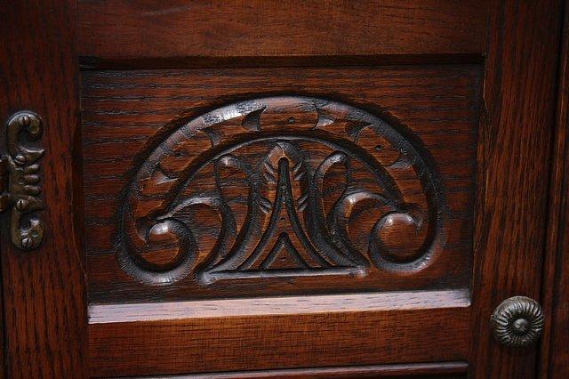 Image 9 of OLD CHARM CORNER DISPLAY CABINET CUPBOARD BOOKCASE SHELVES