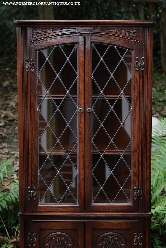Image 14 of OLD CHARM CORNER DISPLAY CABINET CUPBOARD BOOKCASE SHELVES