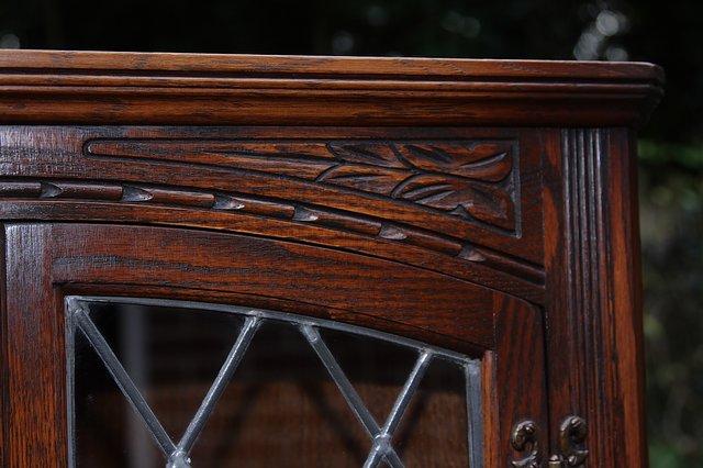 Image 19 of OLD CHARM CORNER DISPLAY CABINET CUPBOARD BOOKCASE SHELVES