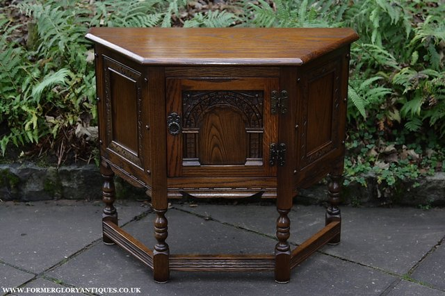 Image 2 of OLD CHARM OAK CABINET LAMP HALL TABLE CUPBOARD SIDEBOARD
